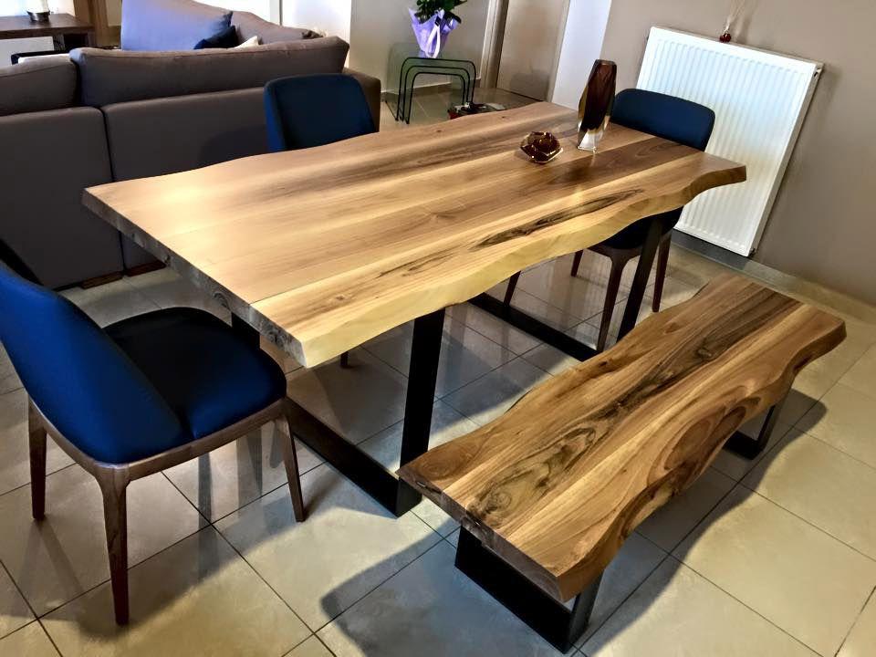 Τραπέζι από μασίφ ξύλο με παγκάκι